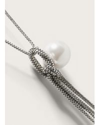 Violeta by Mango - Metallic Pearl Pendant Necklace - Lyst