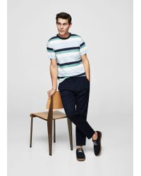 Mango - Purple Striped Cotton T-shirt for Men - Lyst
