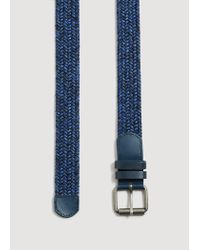 Mango - Blue Leather-appliqué Braided Belt for Men - Lyst