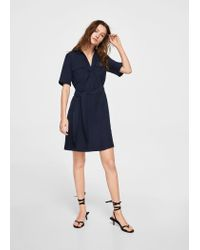 Mango - Blue Dress - Lyst