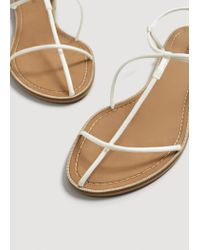 Mango - White Decorative Strap Sandals - Lyst