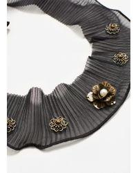 Mango - Black Beads Pleated Scarf - Lyst