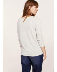 Violeta by Mango - Gray Ruffled Cotton Sweater - Lyst
