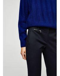 Mango - Blue Zipped Straight Trousers - Lyst