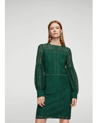 Mango - Green Puffed Sleeves Guipur Dress - Lyst