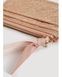 Mango - Pink Metallic Cardholder - Lyst
