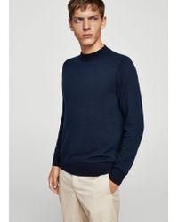 Mango - Blue Wool-blend Knit Sweater for Men - Lyst