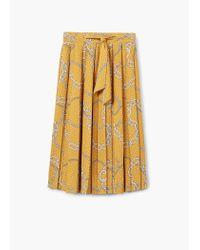 Mango | Yellow Chain Print Midi Skirt | Lyst