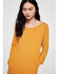 Mango - Yellow Basic Knit Dress - Lyst