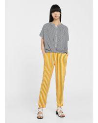 Mango | Blue Flowy Striped Blouse | Lyst