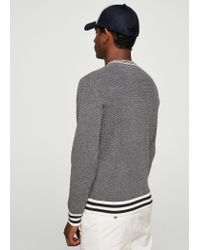 Mango - Blue Contrast Trim Sweater for Men - Lyst