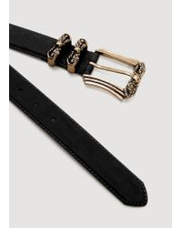 Mango - Black Embossed Buckle Belt - Lyst