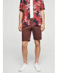 Mango - Purple Structured Cotton Bermuda Shorts for Men - Lyst