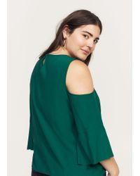 Violeta by Mango   Green Flowy Off-shoulder Blouse   Lyst