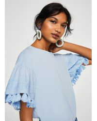 Mango - Blue Pom Pom Cotton T-shirt - Lyst