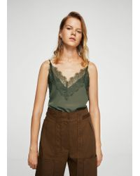 Mango | Green Lace Top | Lyst