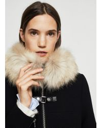 Mango - Black Faux-fur Appliqué Wool Coat - Lyst