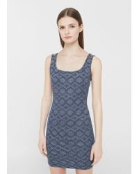 Mango | Blue Fitted Textured Dress | Lyst