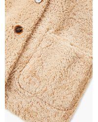 Mango - Natural Shearling-lined Coat - Lyst