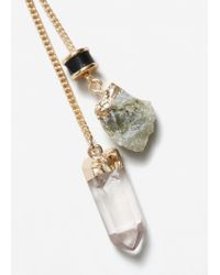 Mango - Metallic Mixed Pendants Necklace - Lyst