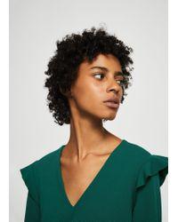 Mango - Green Ruffled Sleeve Dress - Lyst