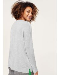 Violeta by Mango - Gray Sequin Message Sweater - Lyst