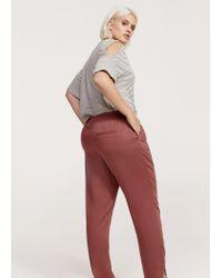 Violeta by Mango - Red Flowy Baggy Trousers - Lyst