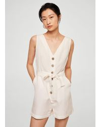 26f039bd10c Mango Bow Linen Jumpsuit in White - Lyst