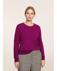 Violeta by Mango - Purple Pearl Embroidery Appliqué Sweater - Lyst