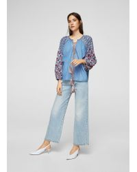 Mango - Blue Embroidered Denim Blouse - Lyst