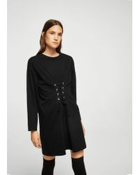 Mango - Black Corset Desing Dress - Lyst