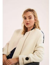 Mango - White Buttoned Wool Coat - Lyst