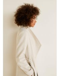 Mango - Natural Belted Wool Coat - Lyst