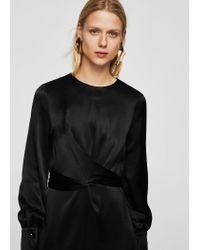 Mango - Black Wrapped Satin Dress - Lyst