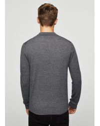 Mango - Gray Button Wool Sweater for Men - Lyst