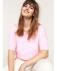 Violeta by Mango - Pink Message Off-shoulder T-shirt - Lyst