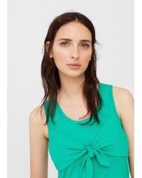 Mango - Green Knot Detail Ribbed Top - Lyst