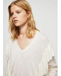 Mango - Multicolor Ruffled Cotton Sweater - Lyst