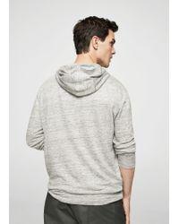 Mango - Gray Flecked Linen Hoodie T-shirt for Men - Lyst