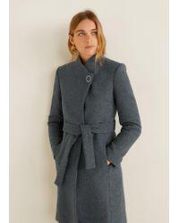 Mango - Gray Buttoned Wool Coat - Lyst