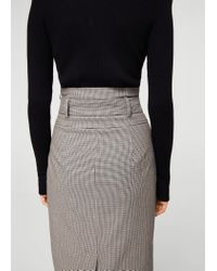Mango - Brown Houndstooth Skirt - Lyst