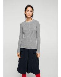 Mango - Gray Knit Cotton Sweater - Lyst