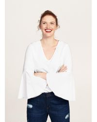 Violeta by Mango - White Flared Sleeve Blouse - Lyst