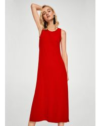 Mango - Long Textured Dress - Lyst