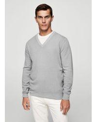 Mango - Gray V-neck Wool Sweater for Men - Lyst