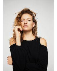 Mango - Black Cold-shoulder Sweater - Lyst