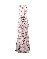 Oscar de la Renta - White Carnation-Print Silk Gown - Lyst