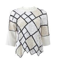 Oscar de la Renta - Natural Lace And Crochet Patchwork Sweater - Lyst