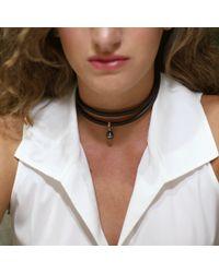 Mizuki - Brown Pearl Leather Wrap Bracelet/choker - Lyst
