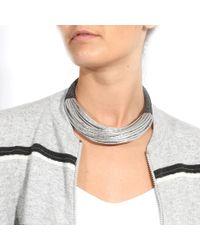 Brunello Cucinelli - Metallic Leather Multi Strand Choker - Lyst
